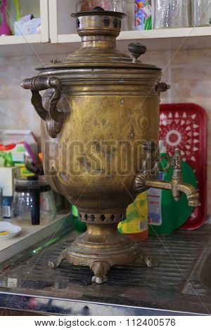 vintage Russian samovar on the table