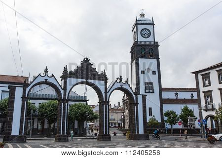PONTA DELGADA, AZORES/PORTUGAL - CIRCA JUN, 2015: View of city gates in Ponta Delgada. City is located on Sao Miguel Island (233 km2) Region capital under the revised constitution of 1976.