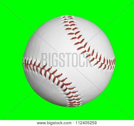Baseball isolated with chroma key green background.