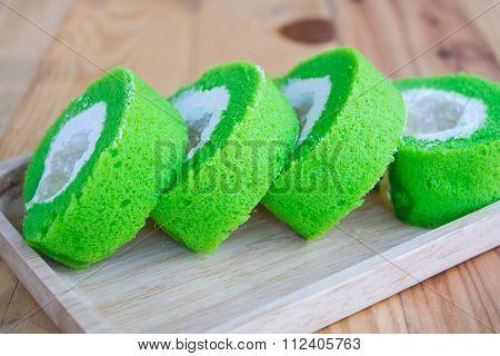Close Up Slice Roll Pandan Flavored Cake