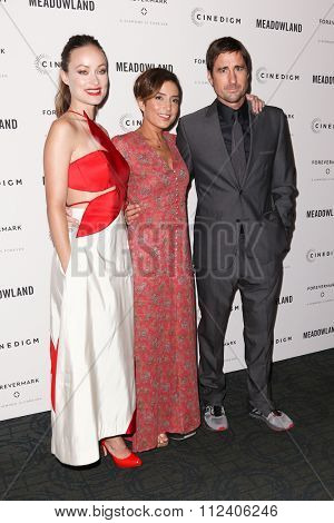 NEW YORK-OCT 11: Actress Olivia Wilde, director Reed Morano and actor Luke Wilson attend the premiere of 'Meadowland' at Sunshine Landmark on October 11, 2015 in New York City.