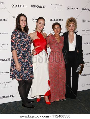 NEW YORK-OCT 11: (L-R) Producer Margot Hand, Olivia Wilde, director Reed Morano and actress Juno Temple attend the 'Meadowland' premiere at Sunshine Landmark on October 11, 2015 in New York City.