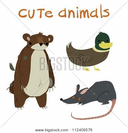 Animals set. With teddy bear ,duck and rat flat icon mascot.