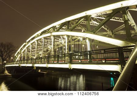 Brightly lit bridge