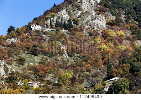 Mountain Landscape With Rock Formations In Epirus, Greece,