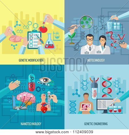 Biotechnology Icons Composition Square Concept