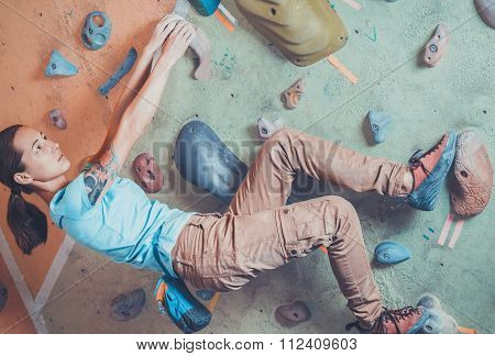 Climbing On Practice Wall
