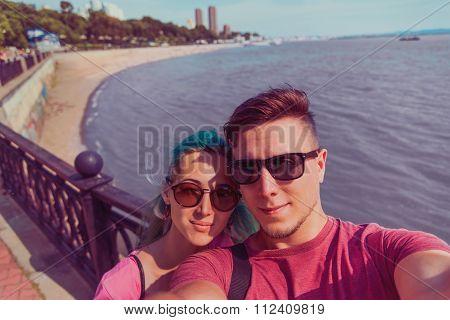 Couple Doing Self-portrait