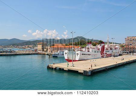 Portoferraio From The Sea, Elba Island, Tuscany, Italy