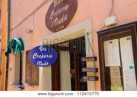 Entrance To Cafe Creperie L'onda In Marciana Marina On Elba Island, Italy