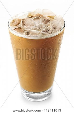 Cup of ice coffee, isolated on white