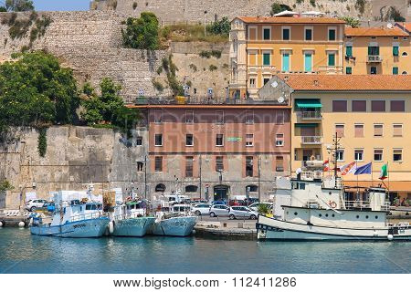 Passengers Boats At Berth In Portoferraio On Elba Island, Tuscany, Italy