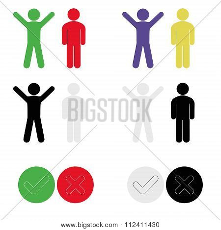 Icons With Symbol Of Person Expressing Joy And Sadness, Acceptance And Denial, Hands Raised Up, Hand