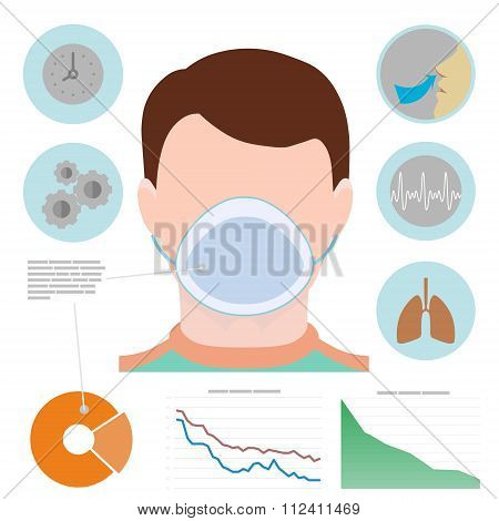 Respiratory Infographic, Man In Respiratory Mask, Icons With Lungs, Easy Breathing, Clock, Diagram,