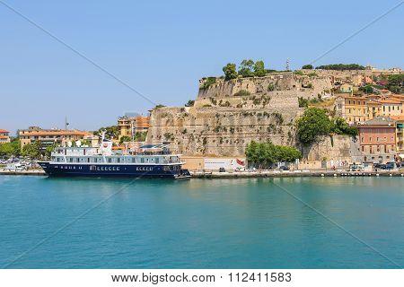 Passengers Cruise Ship At Berth In Portoferraio On Elba Island, Tuscany, Italy