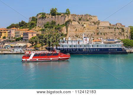 Passengers Cruise Ships At Berth In Portoferraio On Elba Island, Tuscany, Italy