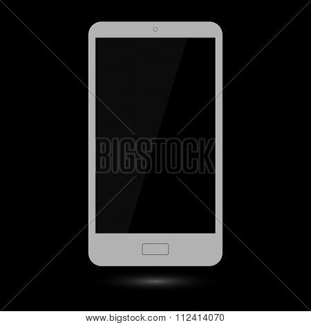 Gray touchscreen smartphone isolated on black background