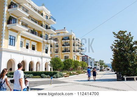 Tivat, Porto Montenegro - August 2015: People Walking On A Sunny Day In The Marina Porto Montenegro