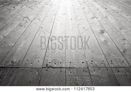 Old Gray Wooden Floor Background Perspective
