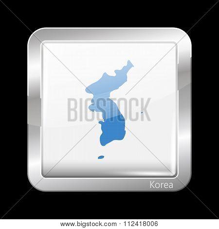 Flag Of United Korea. Metallic Icon Square Shape