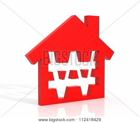 3D Illustration Of House And Won Symbol Over White Background