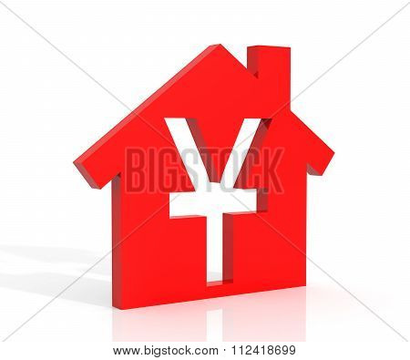 3D Illustration Of House And Yuan Symbol Over White Background