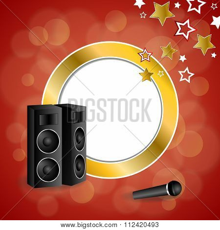 Abstract background karaoke microphone loudspeaker star red yellow gold circle frame illustration