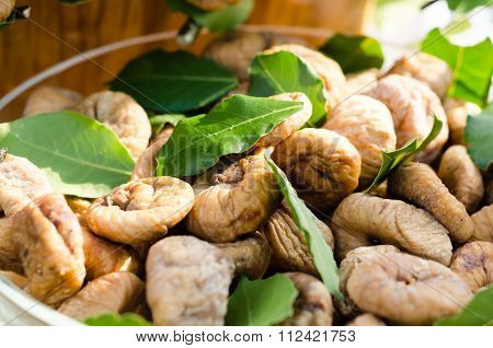 Dried Brown Figs With Leaves On Montenegro's Farm Market