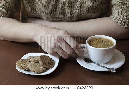 Delicious Snack  And Coffee On Table