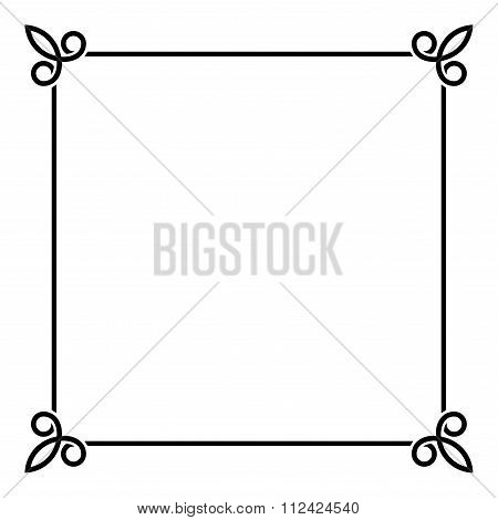 Black Border Vintage Frame on White Background. Vector