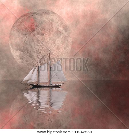 Sailing ship on still water with large moon