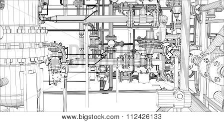 Illustration of equipment for heating system