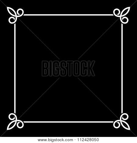 White Border Vintage Frame on Black Background. Vector
