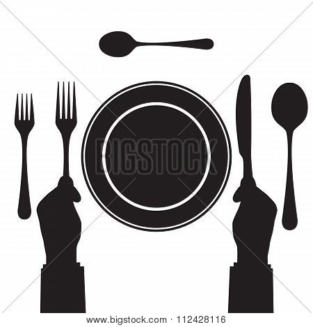 Black Silhouette Of A Hand With A Knife And Fork. Tableware.