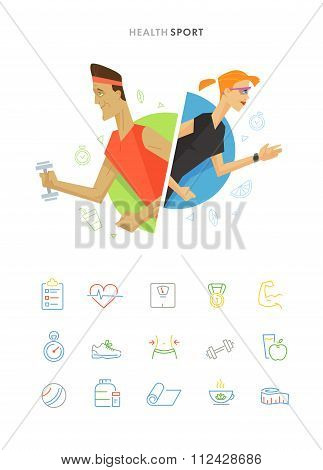 Athletic man and woman symbol illustration icon set
