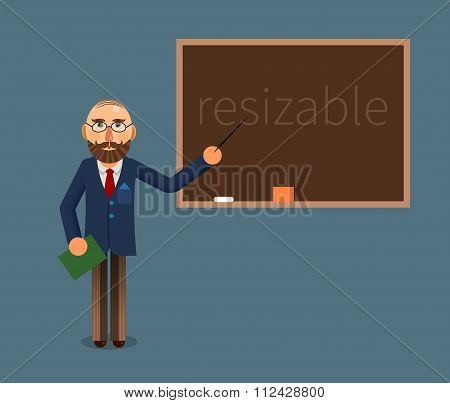 Vector Illustration Of A Teacher And Chalkboard