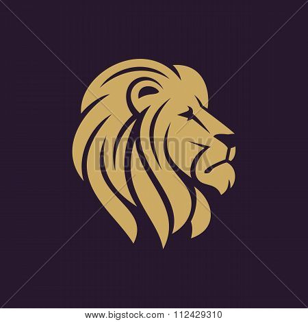 Lion head logo or icon in one color.