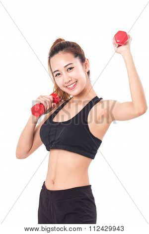 Portrait of young woman doing exercise with lifting weights