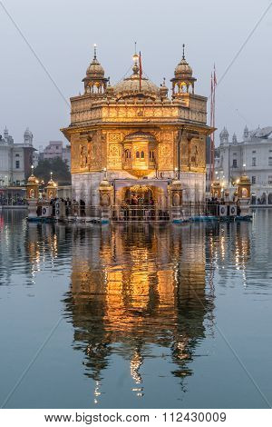 The Golden Temple At Dusk.