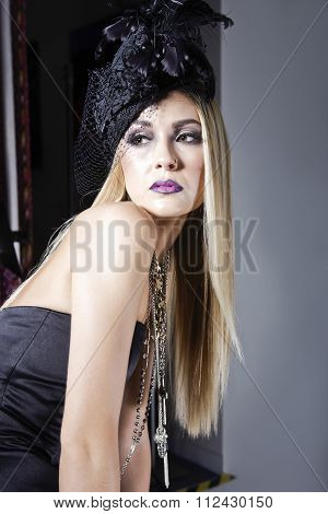 Ravishing Model With A Decorated Hat