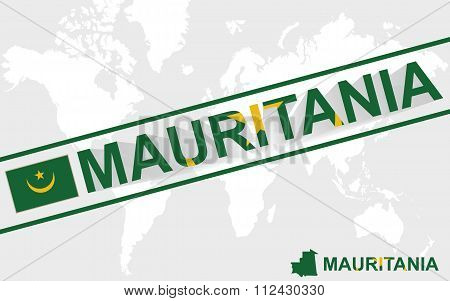 Mauritania Map Flag And Text Illustration