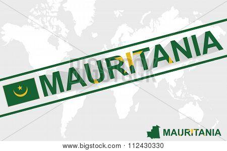 Mauritania Map Flag And Text Illustration