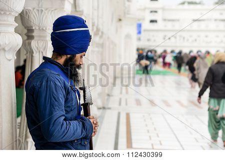 Sikh Pilgrim At Golden Temple.