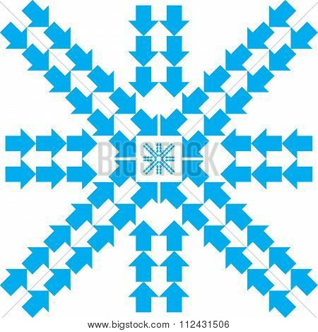 Pattern With Blue Arrows In Snowflake Form