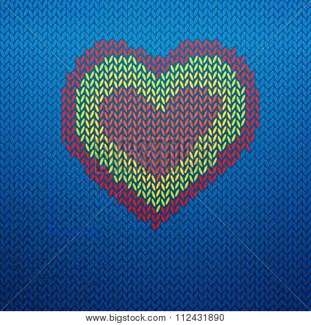 Knitted icon with heart shape