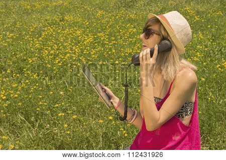 Young woman having an internet call