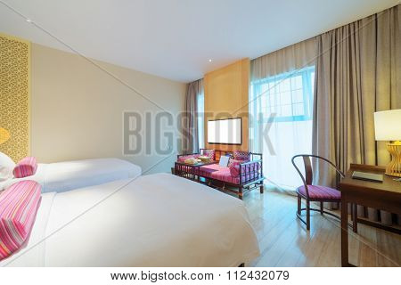 decoration and furniture of modern bedroom with a elegant cots