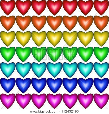 Seamless Pattern With Hearts In Rainbow Colors