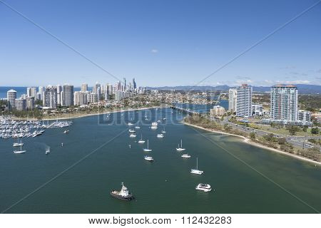 Boats Sailing The Bay In Surfers Paradise