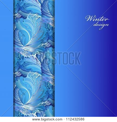 Winter frozen glass background. Stripe border design. Text place.